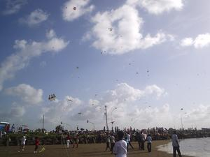The skies over the seawall at Kitty were filled with hundreds of kites yesterday as Guyanese celebrated Easter Monday. (Gaulbert Sutherland photo)