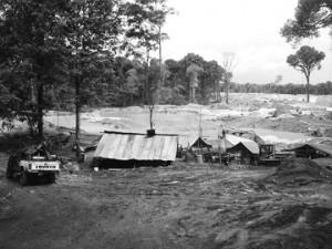 Camps at No Man's land at the Omai Backdam.