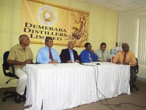 From left are Bert Carter, Komal Samaroo, Yesu Persaud, Loris Nathoo, Bal Parsaud and Alex Graham at yesterday's press conference.