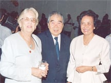 Arthur Chung (centre) with his wife Doreen (right) and Janet Jagan (left) at a function in 1997 when Mrs Jagan was president. (Stabroek News file photo)