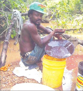 A 'pork-knocker' at the Omai Backdam sifts gravel for gold using the old method of 'batteling'.
