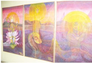 The three paintings by George Simon. (GINA photo)