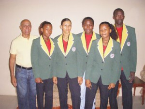 Trinidad bound! From left, Ansilla Norville, Alicia Marques, Mandessa Moses and Amanda Charles along with Coach James Walcott and President of GABA Affeeze Khan (extreme left) pose with their blazers.
