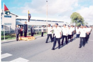 President Jagdeo, Patron of the Guyana Legion, takes the salute at the Legion's 75th anniversary parade in April 2001.