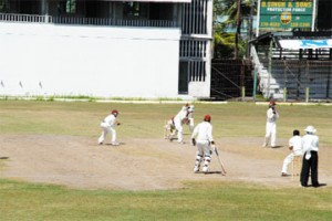 Super Cats skipper Leon Johnson drives fluently during his unbeaten 47 as his team reached 168-3 in reply to the 182 all out made by Lance Gibbs' Tigers. (Clairmonte Marcus photo)