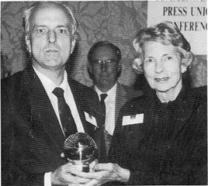 Stabroek News Editor in Chief and Chairman of the Board of Directors David de Caires (left) receiving the Astor Award from Lady Astor in Edinburgh in 1992. This prestigious award - one of the oldest in this category - was created in memory of Lord Astor of Hever, for many years the President of the Commonwealth Press Union. It is awarded biennially to an individual considered to have made an outstanding contribution to press freedom or for his/her distinguished service to the Commonwealth newspaper industry.