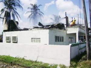 The razed Rodney home at Public Road, Golden Grove, East Coast Demerara.