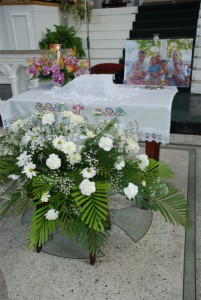 The urn with the earthly remains of Stabroek news Editor-in-Chief David de Caires at yesteday's memorial service at the Brickdam Cathedral.