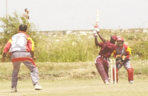 ON THE GO! Man of the match Austin Richards' jnr., hitting one of his several leg-side sixes. (Aubrey Crawford photo)