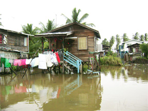 Floodwaters have risen again in Dochfour. This is a flooded section of the community's heart.