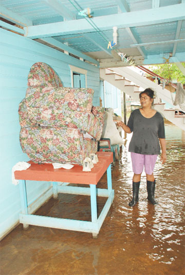 Leela Khandai, a Beehive resident, points to her chair which has been elevated for several weeks because of the floodwater in her house and yard.