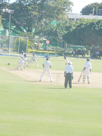 Floyd Reifer plays a forward defensive shot against a Narsingh Deonarine delivery during his 41 yesterday at the 3W's Oval, in Barbados.