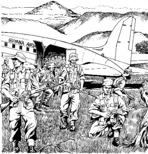 The GDF Task Force lands in the Rupununi (an artist's impression  by Barrington Braithwaite)