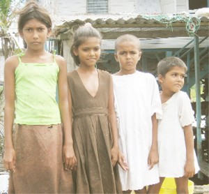 The Pooranmal children: From left are: Anita, 10; Ritesha, 8; Sanjay called Radesh, 9; and Avinash, 7.