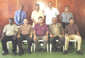 NEW EXECUTIVES! From left, standing, Terry Holder, Pritipaul Singh, Ramsay Alli and Ronald Williams. Sitting (from left) Sheik Ahmad, Bissoondyal Singh, Chetram Singh, Fizool Bacchus and Anand Sanasie. (Aubrey Crawford photo)