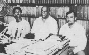 Trevor Arno, left, the longest secretary of the Guyana Boxing Board of Control with former presidents Frederick Ramprashad, centre and K. D Persaud.