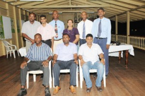 The new GCA Executive. (Sitting from left)  Neil Barry, Alfred Mentore and Surendra Hiralall. Standing (l-r) Lance Hinds, Shalim Baksh, Dennis Wilson, Theresa Pemberton, Shaun Massiah and Harry Parmesar. (Clairmonte Marcus photo)