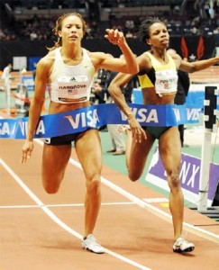 PIPPED! Guyana's Aliann Pompey right  is pipped at the tape by American Monica Hargrove.(Photo courtesy Gary Tim)