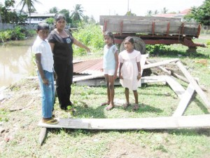 Barbara Persaud with her three children Suraj, 9, Shivanie, 8 and five-year-old Somalie in front of the broken down stall.