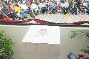 The plaque unveiled at the Bartica Police Station (GINA photo)