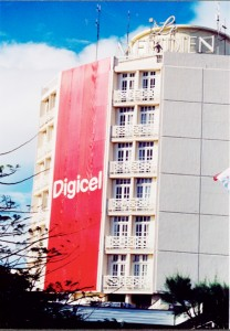 Branding blitz: A huge Digicel banner emblazons the front of the Pegasus Hotel during a massive launch in Georgetown two years ago.