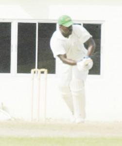 Guyana's wicketkeeper/batsman Darwin Christian gathers runs through the on side during his maiden first class century scored against Jamaica at the Guyana National Stadium, Providence last Sunday. ( Aubrey Crawford photo)