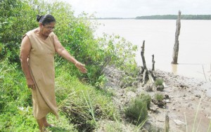 A resident of Glasgow, Kaneeza Khan, points to an eroded section of the shoreline.