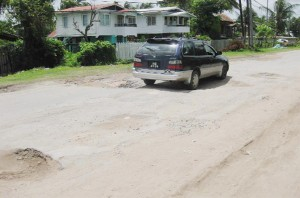 A deplorable section of the road at Islington, East Berbice