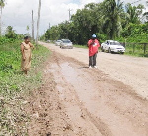 Kaneeza Khan shows president of the East Bank Berbice Hire Car Association, Maxwell Semple where the road is being undermined by the sea water.