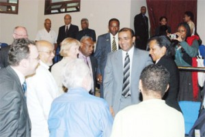 President Bharrat Jagdeo (centre) chats with Co-President of the ACP-EU Joint Parliamentary Assembly, Glenys Kinnock (third from left) along with other members of the assembly following the opening of the sessions yesterday. Also photographed is PPP/C parliamentarian Donald Ramotar (second from left). (Photo by Jules Gibson)