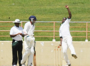 Chief Wrecker! Watched by non-striker Devendra Bishoo and umpire Terrence Birbal, Man-of-the-Match Nelon Pascal is about to send down one of his ferocious deliveries at the Guyana National Stadium, Providence yesterday. (Aubrey Crawford photo)