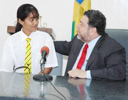 2006 CSEC regional top awardee Shivanie Persaud with Prime Minister Ralph Gonsalves.