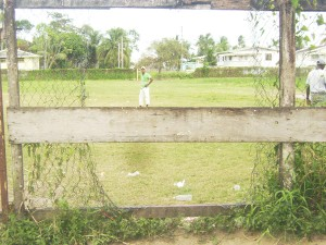 One of the holes at the back of the school's compound through which the bandits could have gained entry.