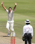 In an awesome performance with the ball, Mitchell Johnson took 3 for 37 from 16 overs to rattle South Africa .
