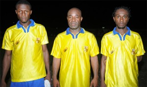 The successful Pele scorers standing from left are Marvin Joseph, Gerald Wittington and  Travis Grant.
