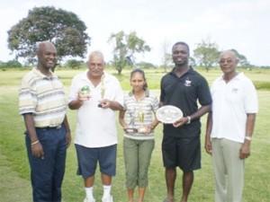 From left to right: Brian Hackett, Dr. Ram Singh, Christine Sukhram (winner), Gavin Todd and Mel Sankies.
