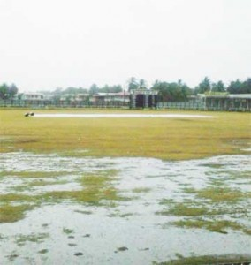 The Albion Cricket Club ground yesterday before play was called off.