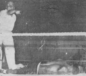 FLASHBACK! Ivelaw Stevenson is counted out in his fight against Trinidadian Boswell St Louis in 1953 at the BGCC ground.