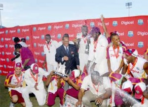 CHAMPAGNE MOMENT! The West Indies team celebrates a rare series win (Photo courtesy of Digicel website)