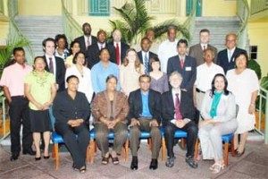 President Bharrat Jagdeo (seated at centre in front row) with the legislators and e-Parliament officials. (Office of the President photo by Sandra Prince)