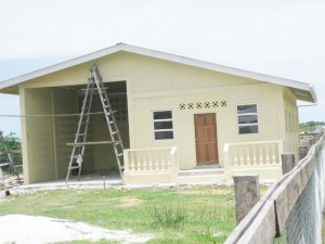 The recently painted building that will house the fire station.