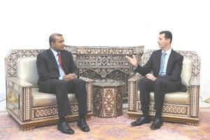 President Bharrat Jagdeo (left) in a meeting with Syrian President Bashar al-Assad (GINA photo)