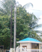 The electricity pole outside of the Secret Villa guesthouse at Land of Canaan that burst into flames on Sunday.