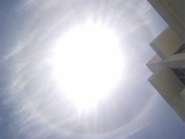 The atmospheric halo seen at mid-day yesterday.