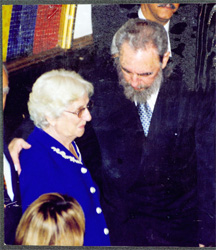 Former President Jagan and Cuba's President Fidel Castro at the inauguration of President Hugo Chávez, February 5, 1999