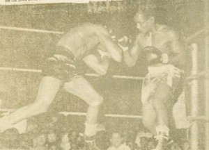 Caesar Barrow, left, and James Harper in the return bout.
