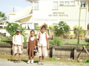 Students of the San Souci Primary School pose for a photograph in front of the Wakenaam Cottage Hospital.