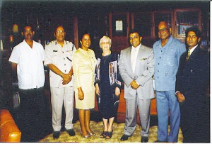 "From left: former ADC Captain Francis Abraham, ex-Commissioner of Police Laurie Lewis, Ingrid Drepaul, the late Mrs Janet Jagan, Dr Dale Bisnauth and Mohammed ""MFK"" Khan on the Drepauls' wedding day. (Photo courtesy of  John ""Slingshot"" DrePaul)"