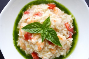 Shrimp Risotto with Basil Oil. (Photo by Cynthia Nelson)