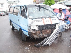 The Route 48 minibus which was hit by the hire car.